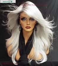 """ANGELICA"" DESIGNER WIG ☆ #60 WHITE ROOTED ILLUMINA R LONG FLOWING WAVES SEXY"