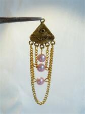 PACK OF 2 PENDANTS - GOLD PLATED & PINK PEARL BEADS - 60mm............P1331 *