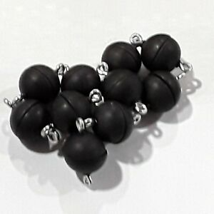 Acryl Magnetverschluss, acryl, schwarz matt, 10 mal rund 10 mm 10 mal oval 17/8