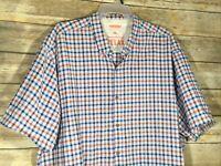 Tommy Bahama Mens 2XL Short Sleeve Camp Shirt 2XB Blue Orange Check