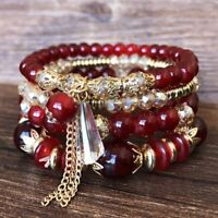 Women Boho Multi-layer Crystal Beaded Beads Bohemia Cuff Bracelets Set Bangle