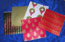 1960'S Vtg Xmas Gift Wrap Wrapping Paper 5 Sheets, Unused, Gorgeous Rich Colors