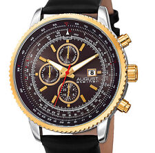 August Steiner Multi Function Round Brown-Gold w Month-Days w Soft Leather Band