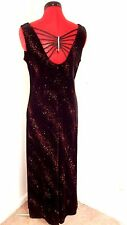 Another Thyme 10 Black Velvet Formal Dress  NEW Red Sparkle Rhinestone Back