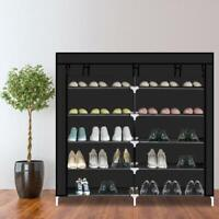 """44"""" 7 Tier Shoe Tower Rack Double Row Storage Cabinet Organizer Fabric Cover US"""