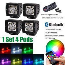 """4x 3"""" CREE Led Work Light Square Pods RGB Halo Ring Multi-Color Change Bluetooth"""