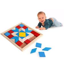 Wooden Tangram Developmental Brain Teaser Puzzle Tetris Game kids Baby Toy New