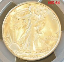 1943 S US Walking Liberty Half Dollar 50 Cent Silver Coin PCGS MS 64