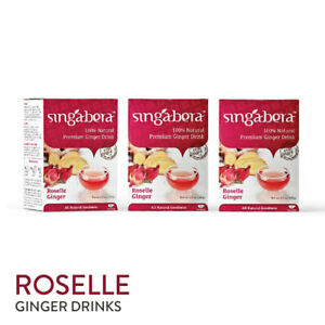 [SINGABERA] Premium Roselle Ginger Healthy Drinks 3 Boxes x 12 Sachets