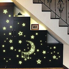 New Pretty Glow In The Dark Moon and Stars Wall Stickers Home Bedroom Decoration