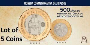 LOT OF 5 MEXICO 20 PESOS COIN MONEDA MEXICO TENOCHITLAN CONMEMORATIVA