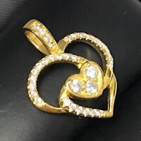 Vintage Antique White Round Diamond Heart Pendant SOLID 14k Yellow Gold Jewelry