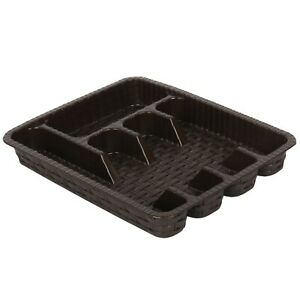 Kitchen Drawer Organizer. Cutlery Tray for Drawer. (5 Compartment) (Brown)