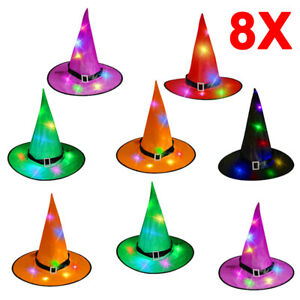 8PCS LED Glowing Witch Hats Halloween Tree Hanging Decor Light Up Witches Caps
