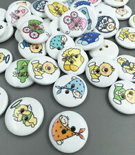 50pcs Round Mixed baby series pattern Wooden Buttons Sewing Scrapbooking 20mm