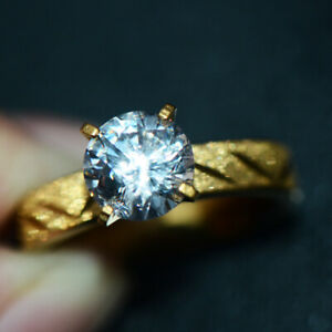 18K Gold Filled CZ Crystal Wedding Ring Bridal Engagement Rings Womens Size 6