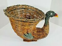 "Vintage Thanksgiving Turkey Cornucopia Wicker RARE 15""x11""x10"" Centerpiece"