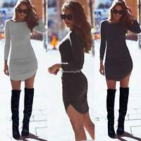 New Women Pockets Long Sleeve Jumper Top Ladies Bodycon Sweater Tunic Mini Dress