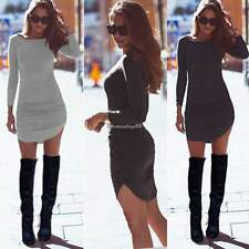 Autumn Winter Women Long Sleeve Jumper Top Lady Bodycon Sweater Tunic Mini Dress