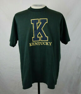Vintage 90's University of Kentucky Embroidered Plaid K T-Shirt XL Green College