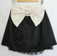ALANNAH HILL ~ My Little Iced Vo-Vo Black Satin Knee Length Skirt w Cream Bow 8