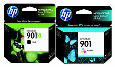 2PK Genuine HP 901 XL Black  901Tri- Color (CC654AN/ CC656AN) Ink Cartridges