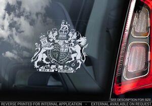ROYAL COAT OF ARMS  Car Sticker, Window Decal British United Kingdom Crest - V01