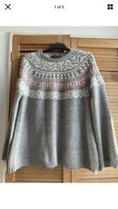Fairisle women's chunky grey Pink Jumper size L (14/16) pattern - M&S