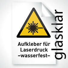 10 Farb Laser Kopier Druck Klebfolie KLAR GLANZ wasserfest DIN A4 Profi Qualität