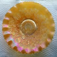 Vintage Carnival Glass Northwood Marigold Good Luck Bowl Pie Crust Edge Signed