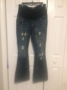 Size M PARIS BLUES Maternity Blue Jeans Distressed Destroyed Stretch Mid Panel