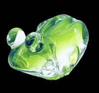 "Vintage Crystal Two Tone Green Art Glass Frog Decor Paperweight  7""L  4.5""W  4""H"