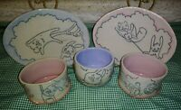 5PC Happy Tree Friends Art Pottery Snack Sets 2 Oval Plates 3 Footed Cups Signed