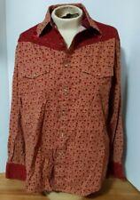 Vintage Wrangler Womens Medium Westen Pearl Snap Shirt Long Sleeve Size M Red