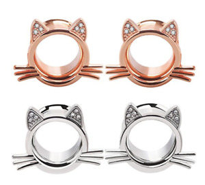 ROSE GOLD OR STEEL CAT EARS & WHISKERS DOUBLE FLARE FLESH EAR TUNNEL STRETCHER