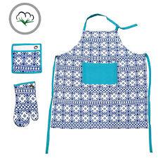 Set of 3 - Marrakech 100% Cotton Kitchen Apron Oven Mitten Pot Holder Set