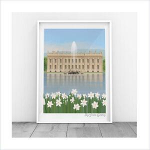 Chatsworth House Original Illustration Derbyshire Flower Show Print Only Poster