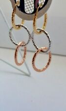 9ct Yellow White Rose Gold Drop Hoop Creole Earrings 2.0g *NEW* Present Gift BFF