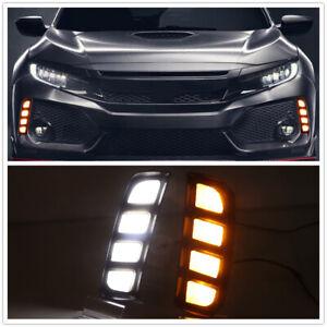 2 Colors LED DRL Daytime Running Light Fog Lamp For Honda Civic Type R 2016-2020