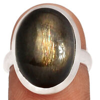 Black Sunstone - Namibia 925 Sterling Silver Ring XGB Jewelry s.6 BR47444