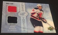ANDY GREENE 2007-08 Upper Deck Ice Fresh Threads DUAL JERSEY Card SP #d /100
