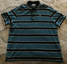 Lacoste Mens SZ 9 Turquoise/Black Stripe Polo Shirt