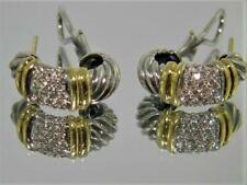 David Yurman 18K Gold & Sterling Silver Pave Diamond Thoroughbred Earrings