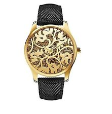 NEW-GUESS GOLD TONE,BLACK PYTHON LEATHER BAND,FLORAL,GLITZ WATCH-W0224L1