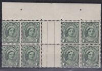 APD199) Australia 1948 1½d Green QE, no wmk. Top gutter block of 8
