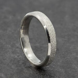 4mm Stainless Steel Silver Sparkle Ring - Mens Womens Wedding Band - Unisex
