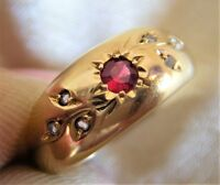 Antique 18ct/18k gold ruby and diamond accents gypsy ring, Chester 1904