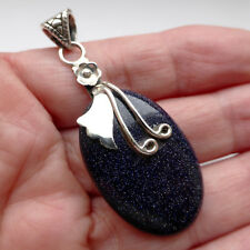 Blue Goldstone Pendant Sterling Silver 925 Gemstone Chakra Stone Healing