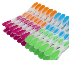 24 X PLASTIC SOFT RUBBER GRIP UV PROTECTED CLOTHES WASHING LINE DRY CLIPS PEGS
