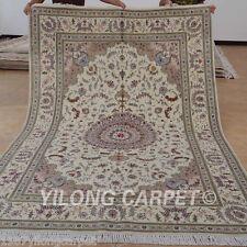 Yilong 6'x9' Hand Knotted Wool Silk Carpets Flat Weave Handiwork Area Rugs 1428